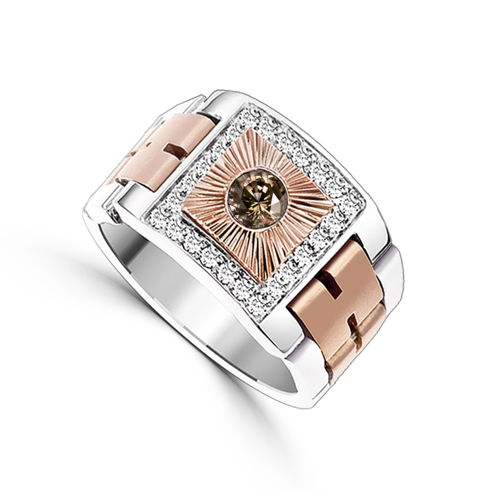 Men's Custom 0.71 Total Carat Weight  Chocolate Diamond Ring Set in 14 K Two Tone White and Rose Gold