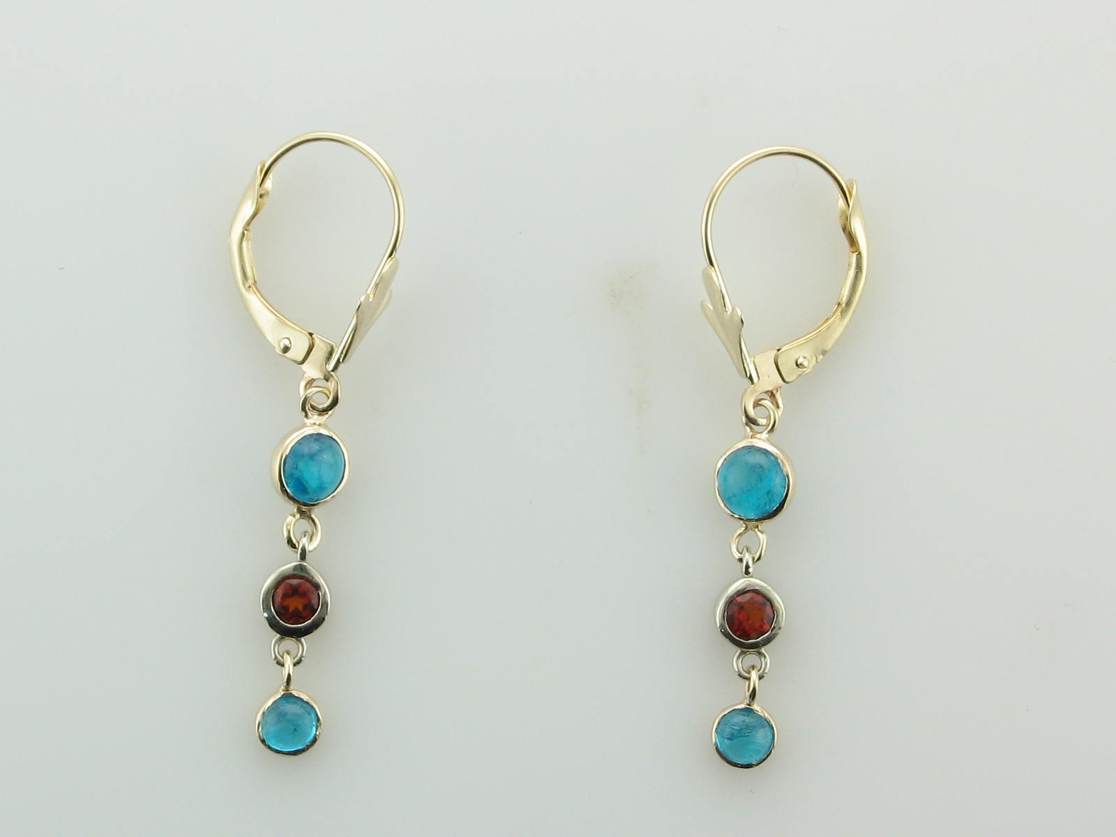 Apatite & Maderia Citrine Dangle Earrings set in 14K Yellow Gold