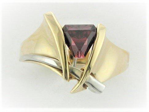 1.35 Total Carat Weight Designer Cut Rhodolite Garnet Ring Set in 14 Karat Two tone Yellow and White Gold