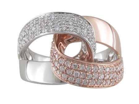Two Tone Diamond Ring  0.76 Total Carat Weight Set in 14 Karat Rose and White Gold