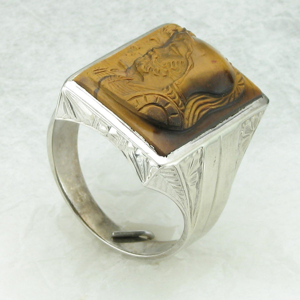 10K White Gold Tiger Eye Ring with Engraved Roman Figurine
