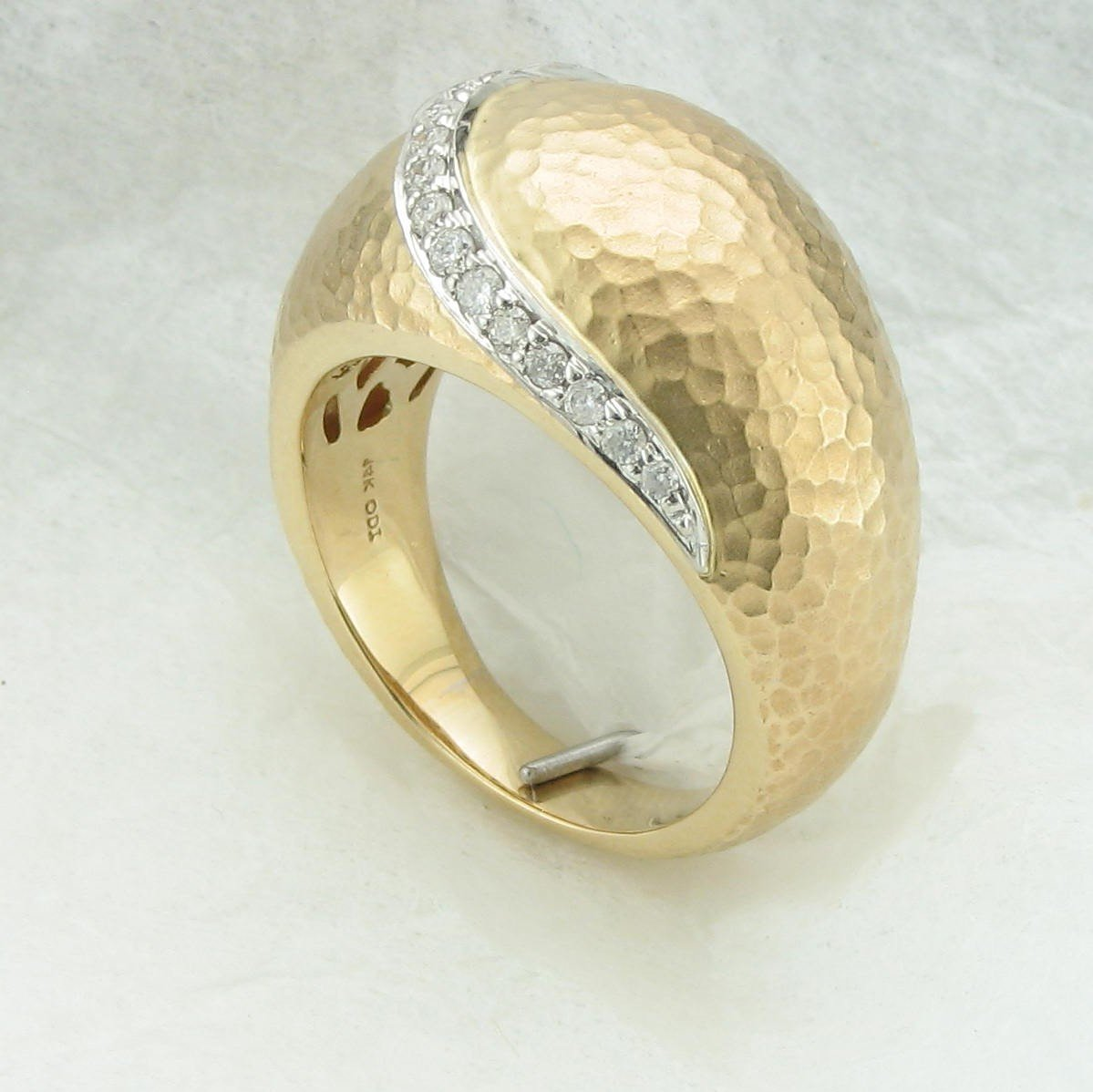 0.10tcw Diamond Textured Dome Ring set in 14K Yellow Gold