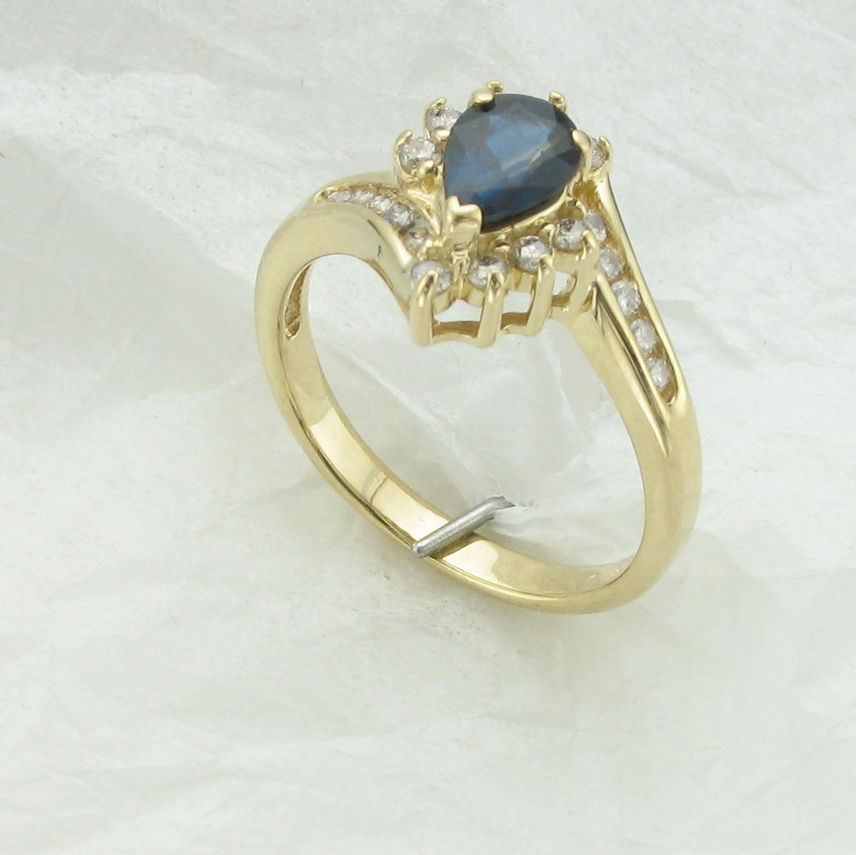 14K Yellow Pear Blue Sapphire and Diamond Ring