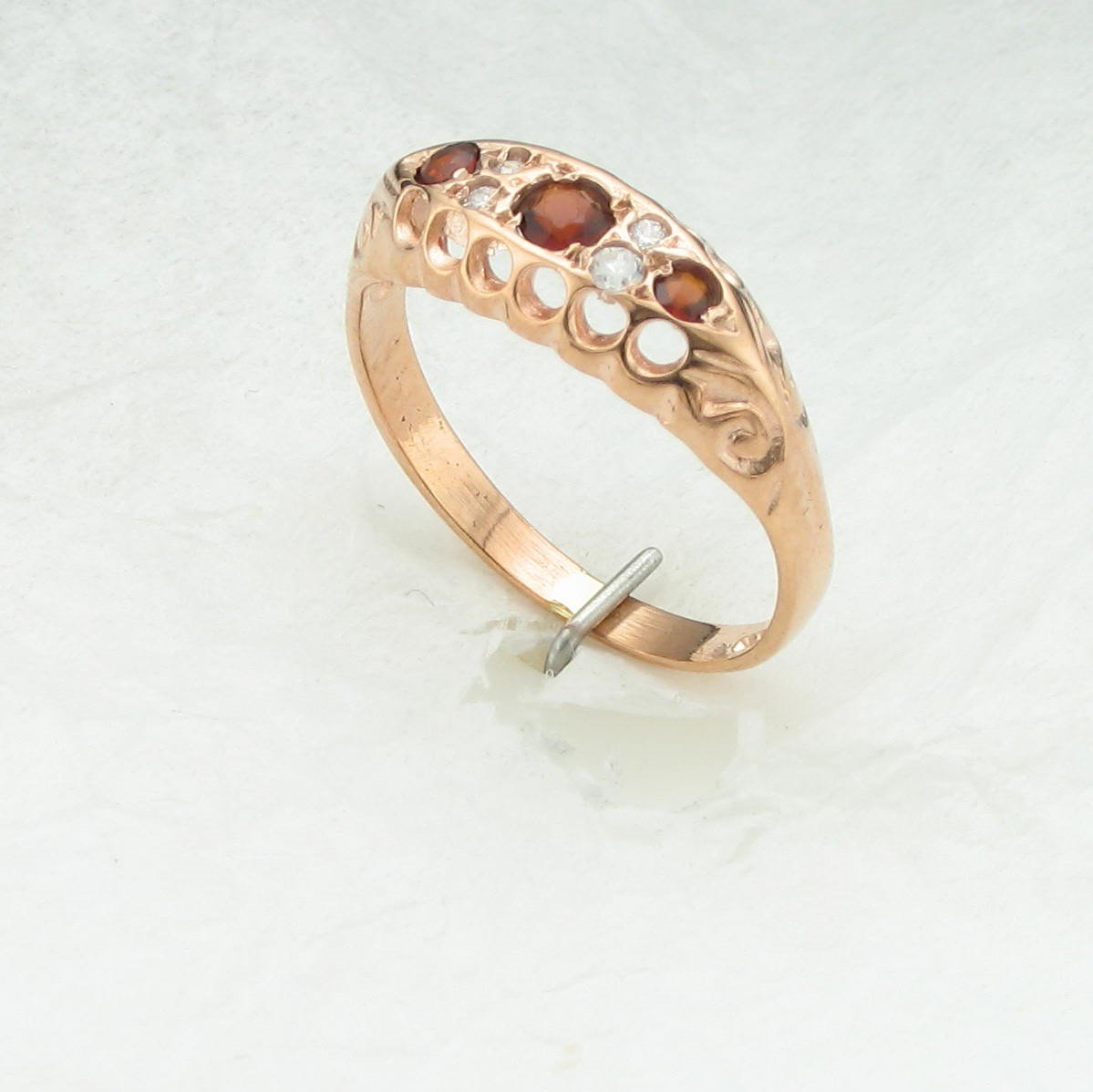 9K Rose Gold Garnet and Diamond Ring