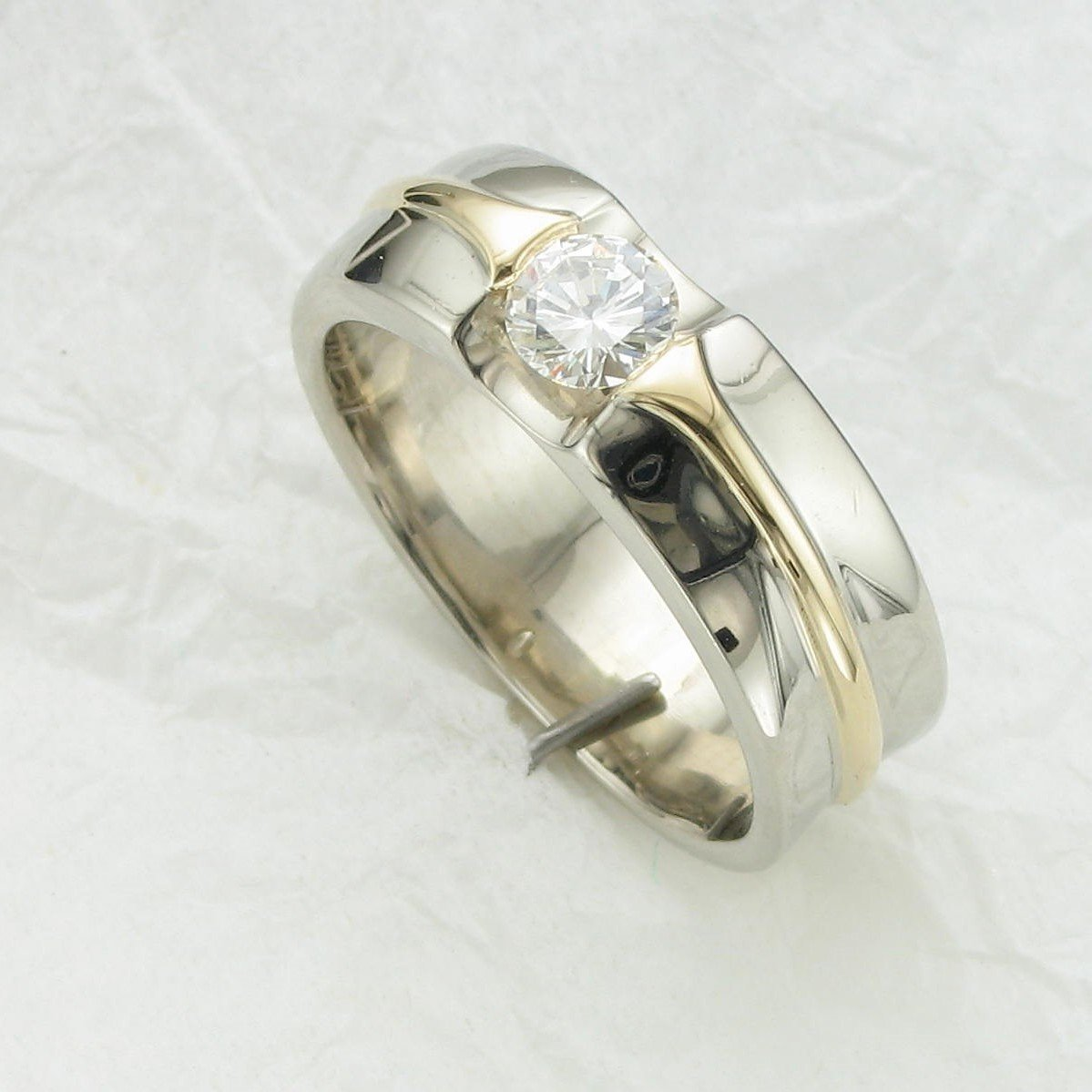 0.50CT Round Diamond Ring set in 14K Yellow and White Gold