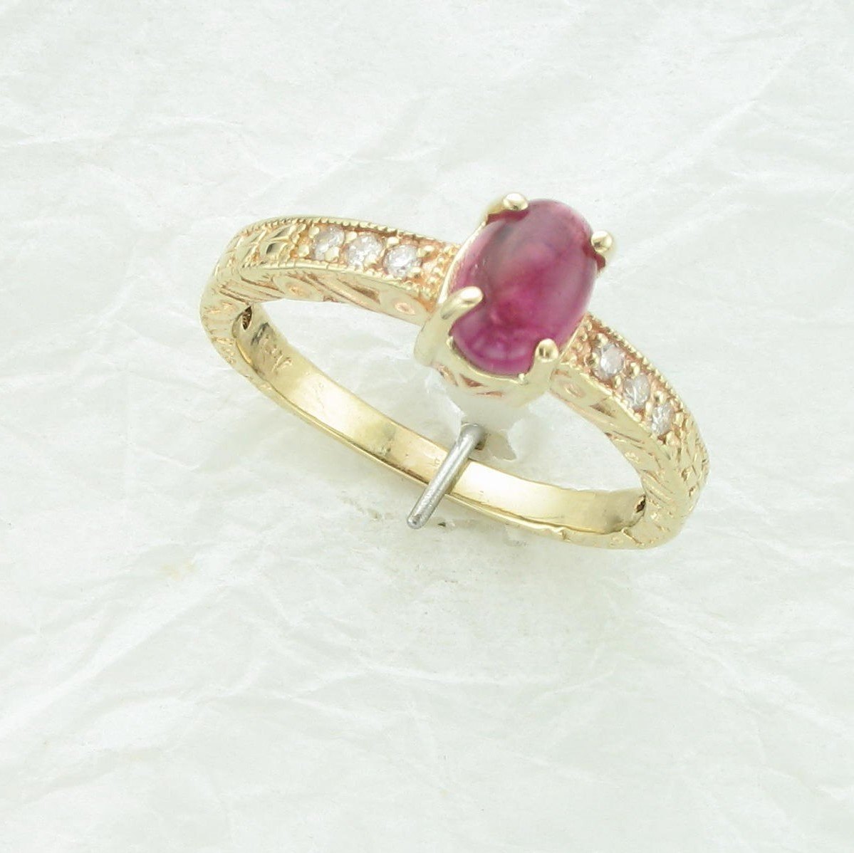 14K Yellow Gold Filligree Pink Tourmaline Cabochon Ring