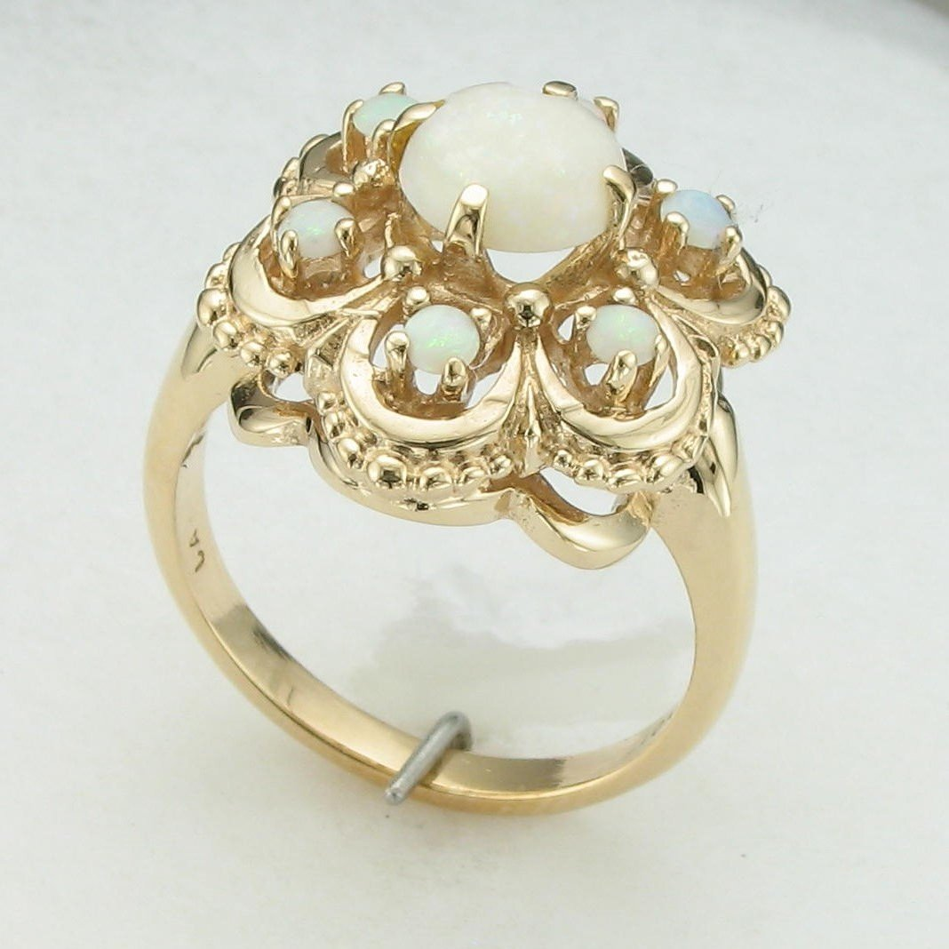 10K Yellow Gold Opal Cluster Ring