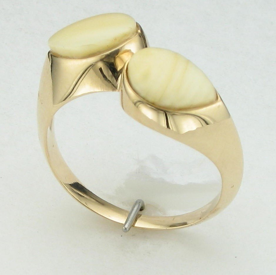 14K Yellow Gold Elk Bone Ring