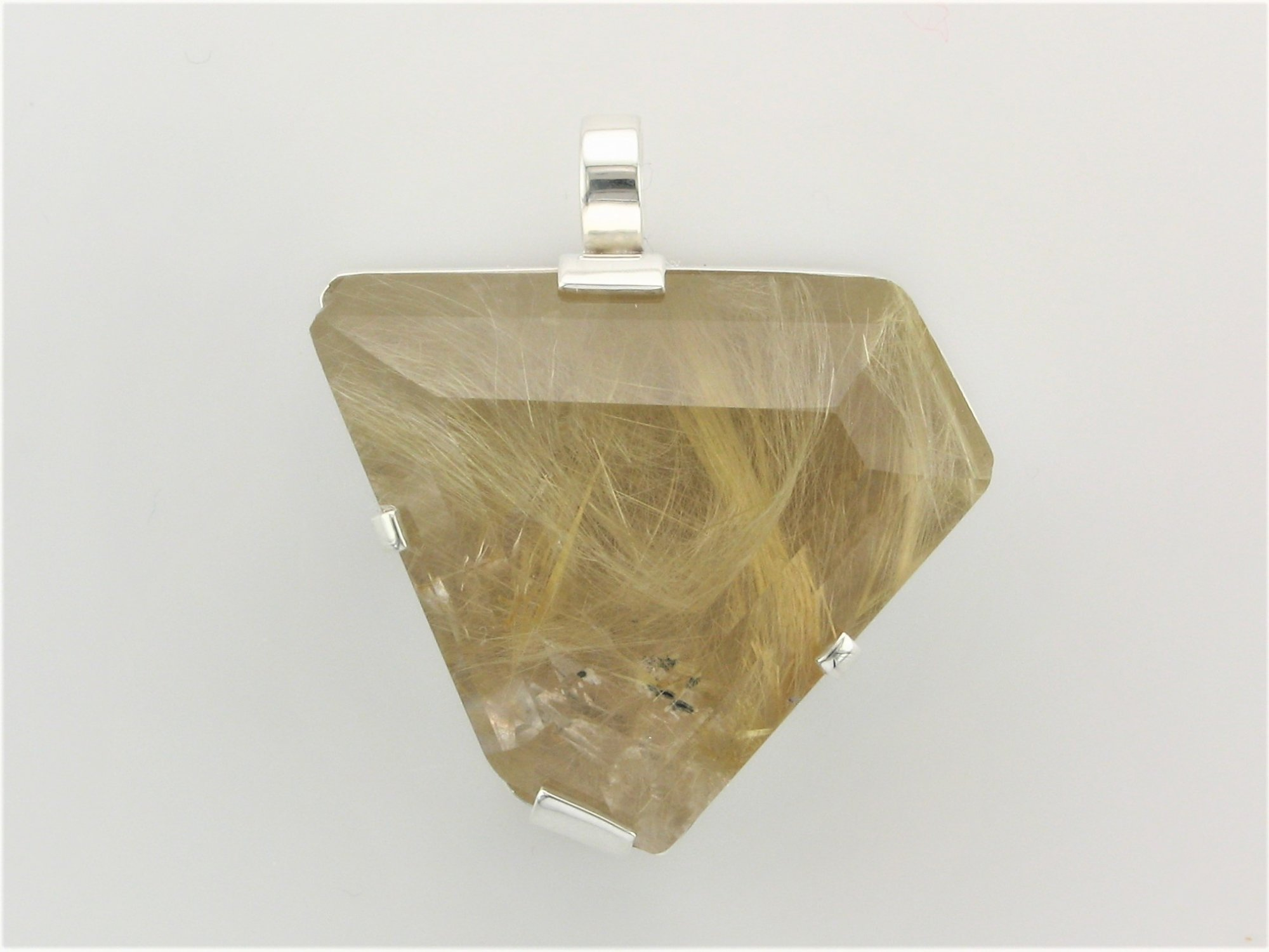 140 Total Carat Weight Rutilated Quartz Pendant Set in Sterling Silver