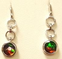Standard Grade Ammolite Dangle Earrings set in Sterling Silver