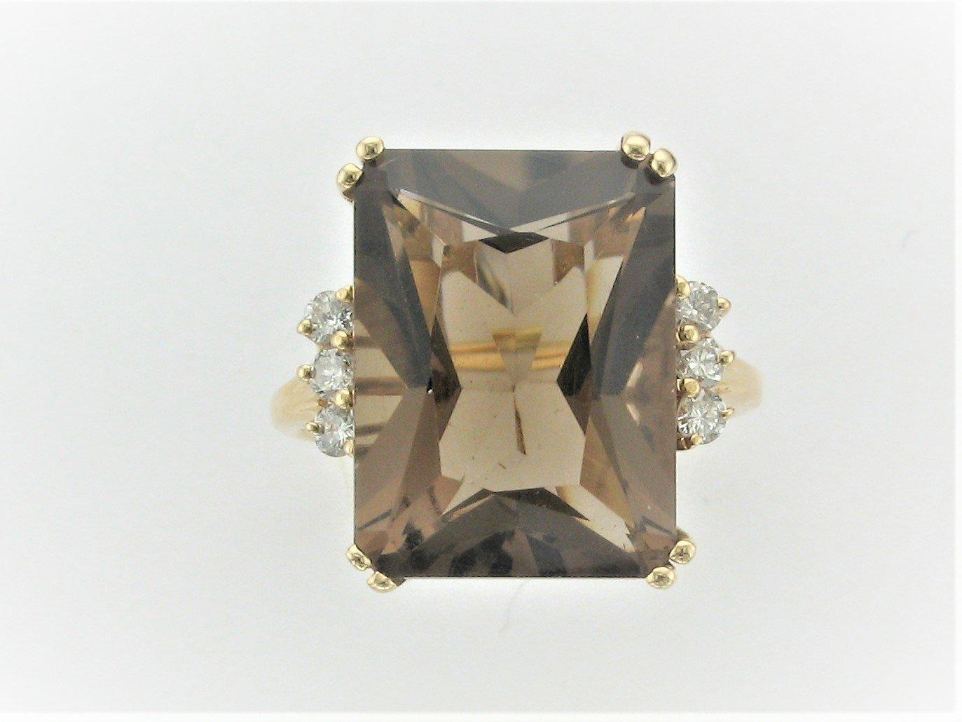 10.5 Carat Smoky Quartz and Diamond Ring Set in 14 Karat Yellow Gold