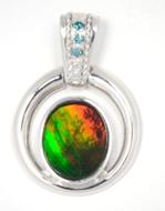 B Grade Ammolite and Blue Diamond Pendant Set in Sterling Silver