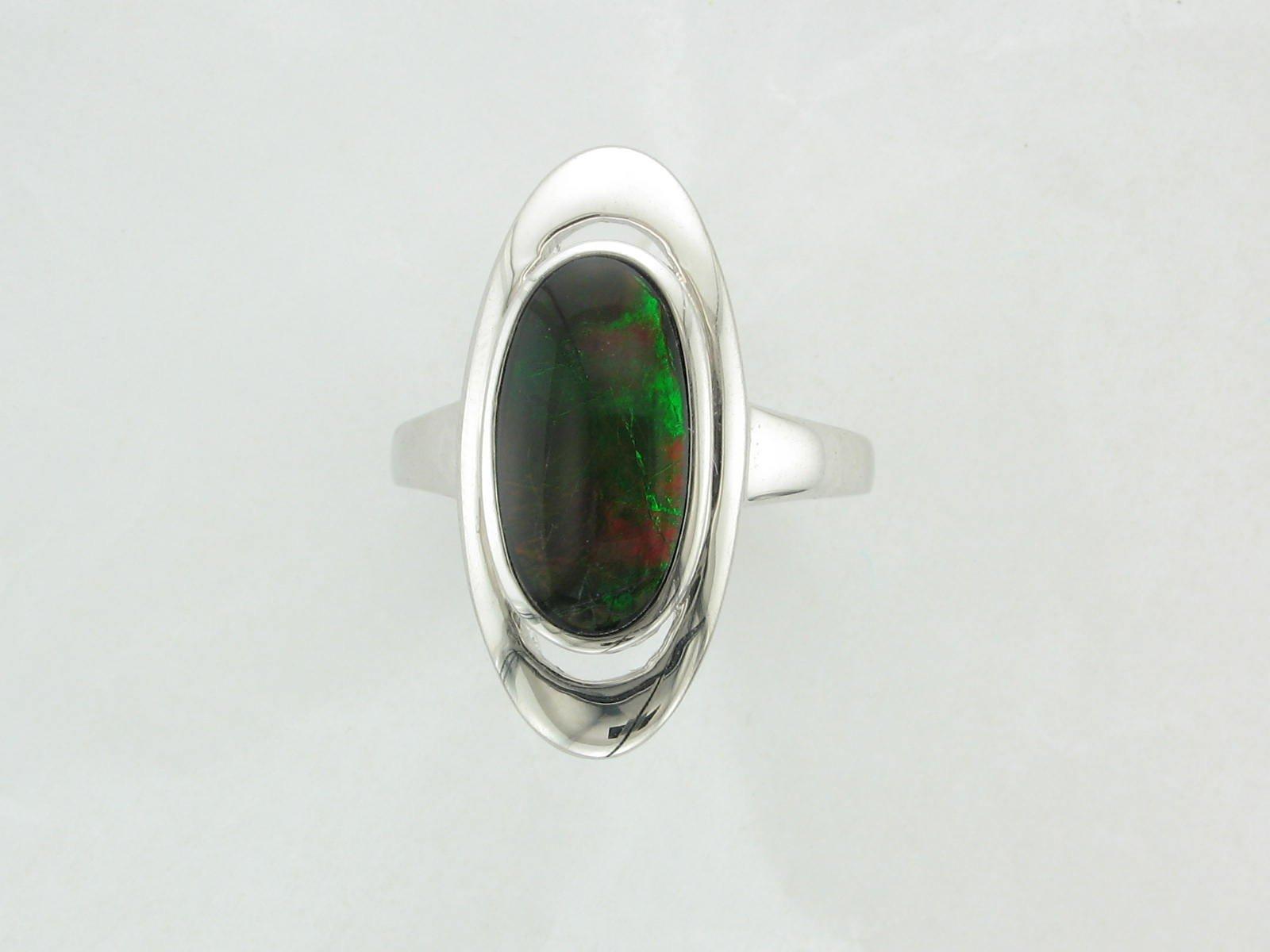 Standard Grade Ammolite Elongated Oval Ring set in Sterling Silver