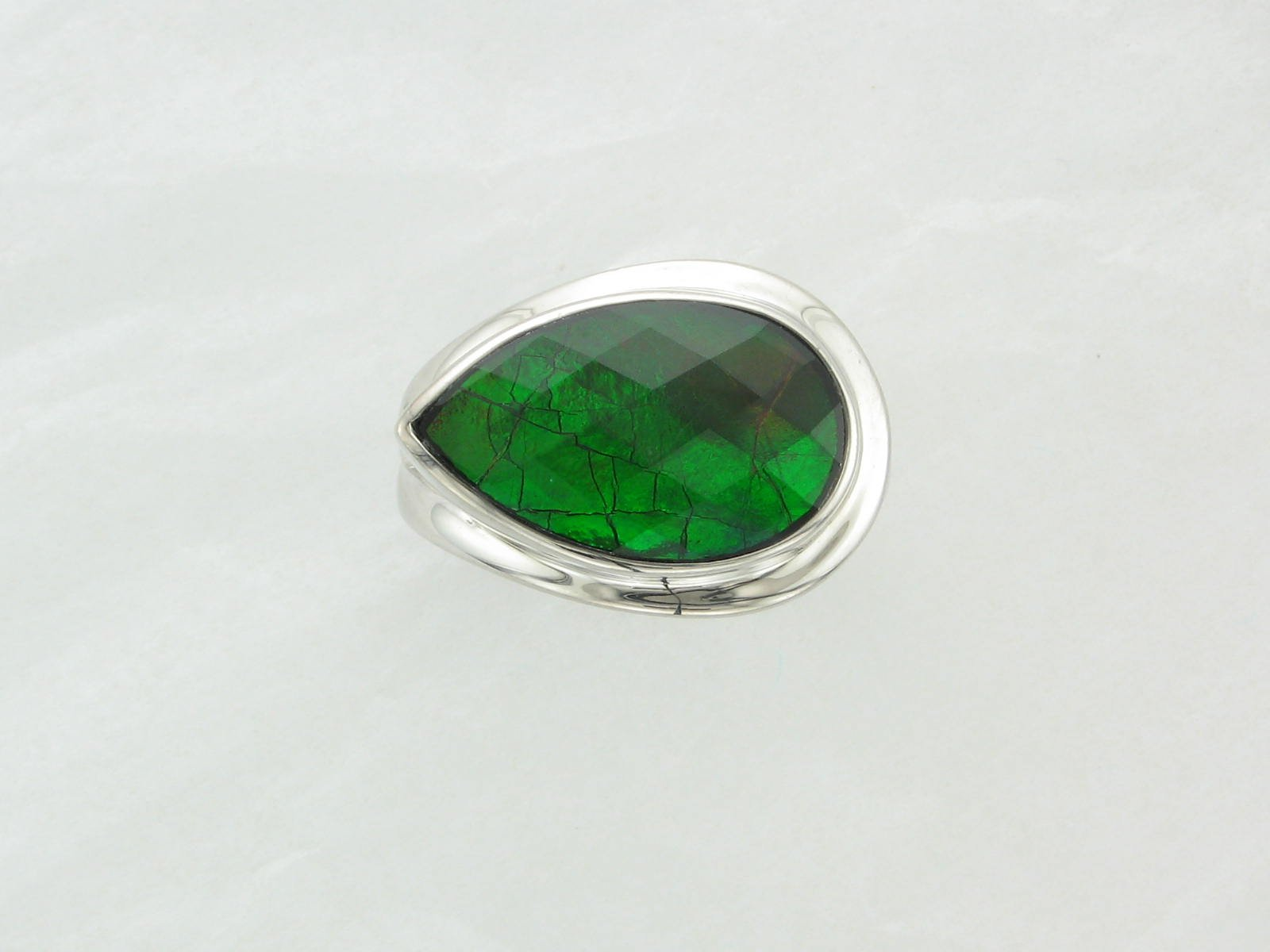 Standard Grade Ammolite Side Teardrop Ring set in Sterling Silver