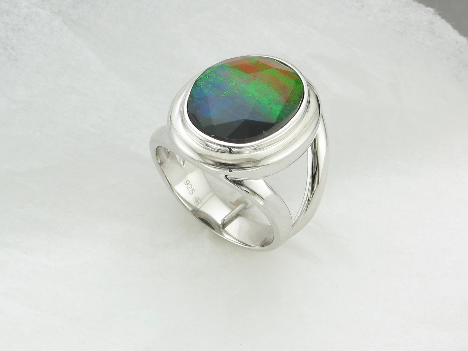 Standard Grade Ammolite Large Oval Ring set in Sterling Silver