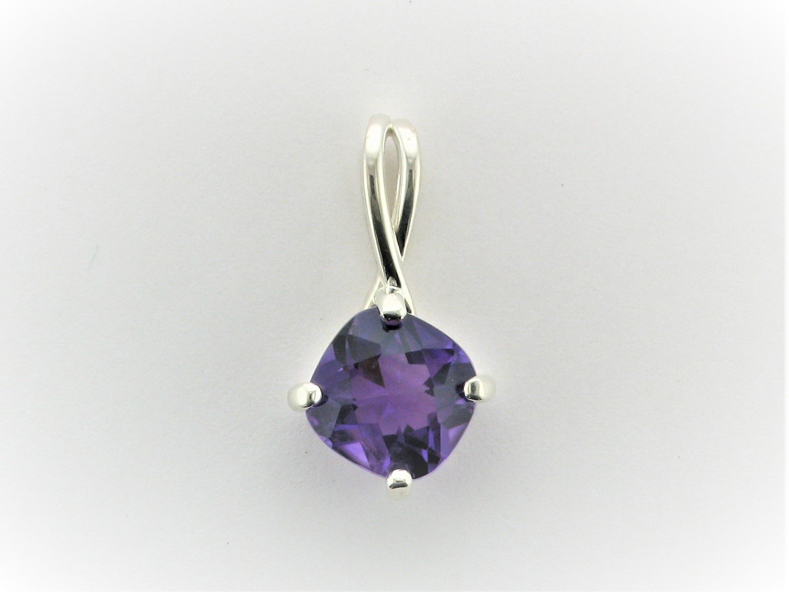 3.65 Carat Checkerboard Amethyst Pendant Set in Sterling Silver
