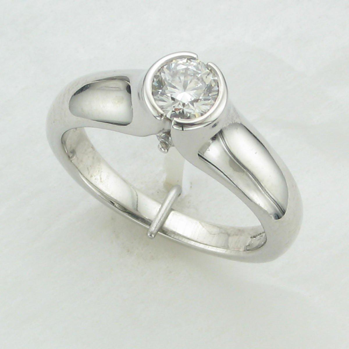 0.51ct Round Diamond Ring set in 14K White Gold