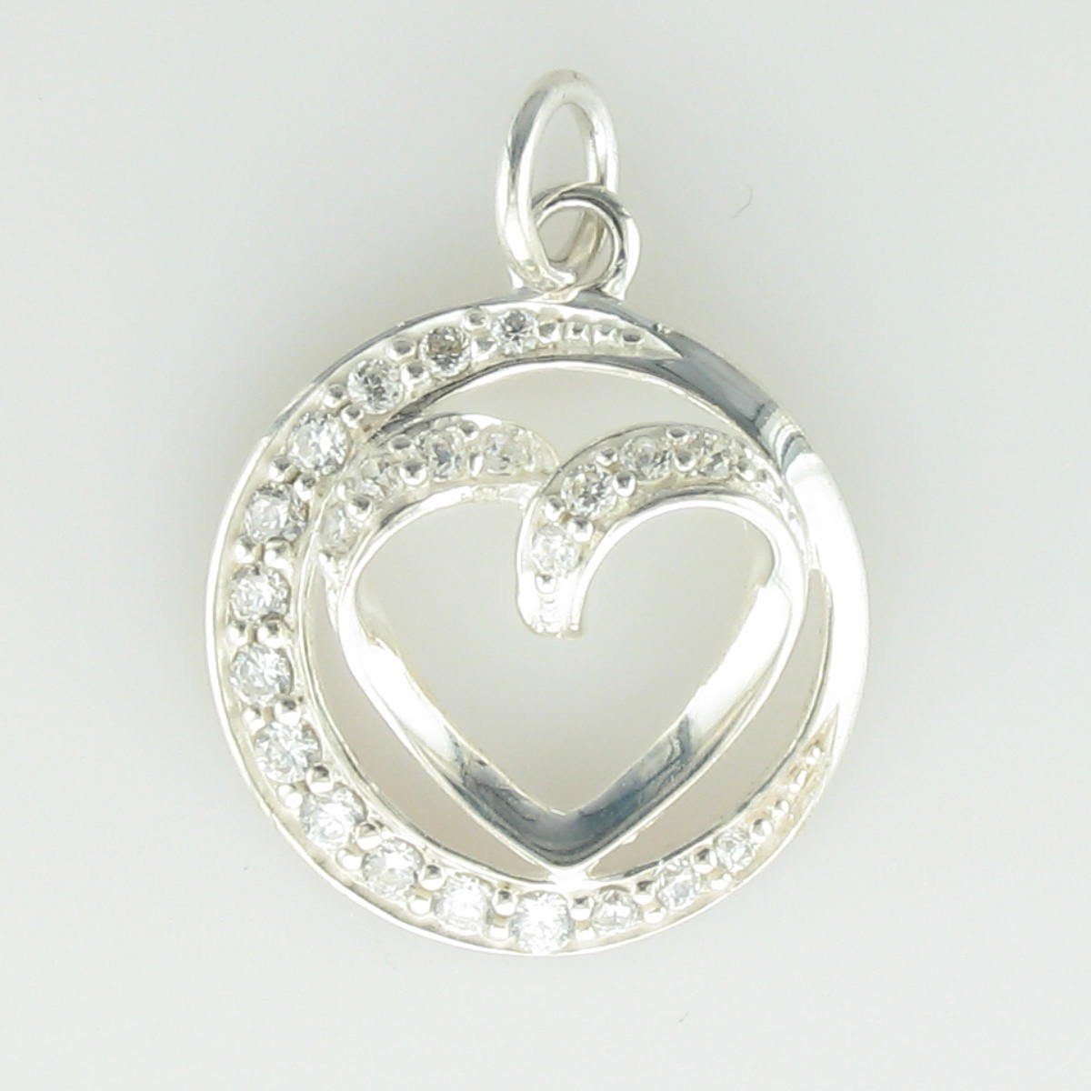 CZ Circle & Heart Pendant set in Sterling Silver