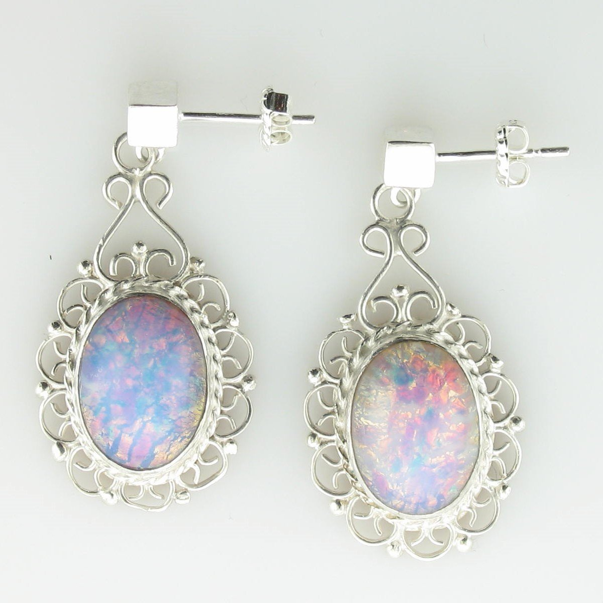 Iridescent Glass Dangle Earrings set in Sterling Silver