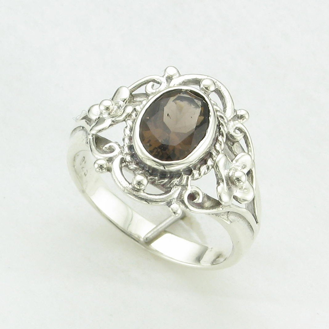 0.75ct Smoky Quartz Ring set in Sterling Silver
