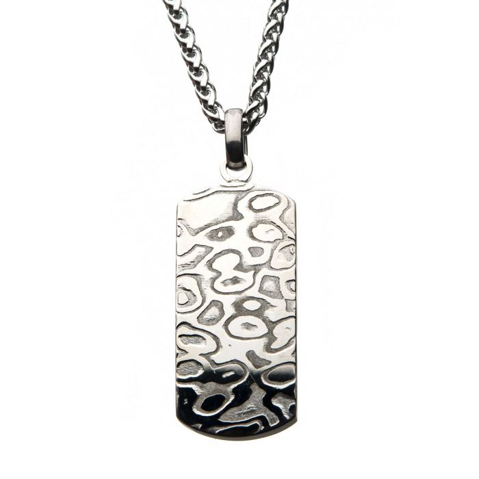 Stainless Steel Damascus Dog Tag Pendant with Steel Wheat Chain