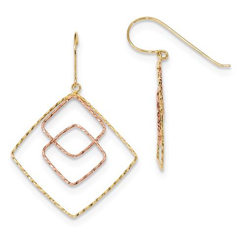 Diamond Cut Graduated Square Shepherd Hook Earrings in 14k Yellow and Rose Gold