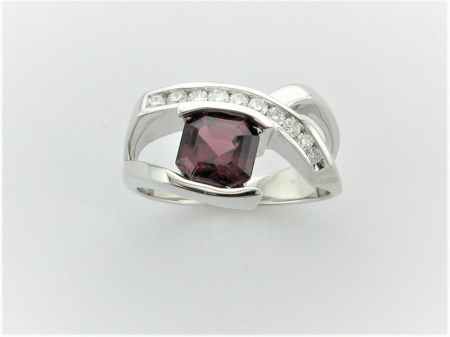 2.08 Asher Cut Umbalite Garnet and Diamond Ring Set in 14 Karat White Gold