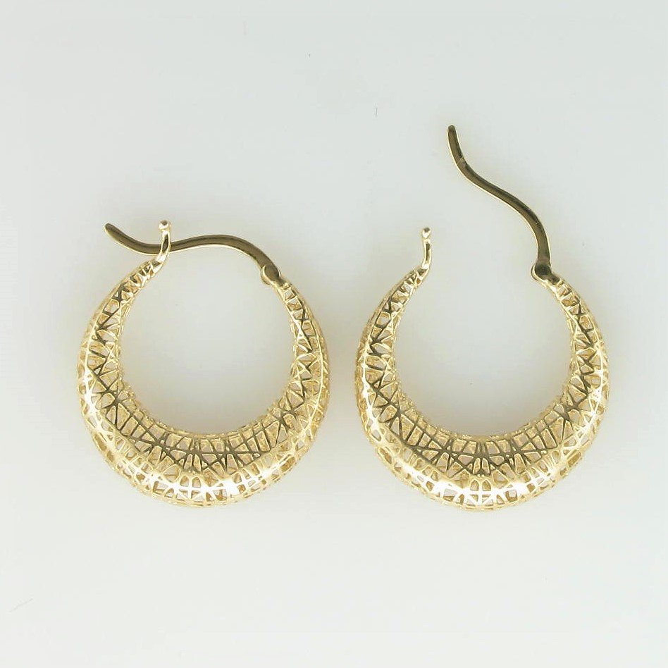 14K Yellow Gold 3-D Round Hoop Earrings
