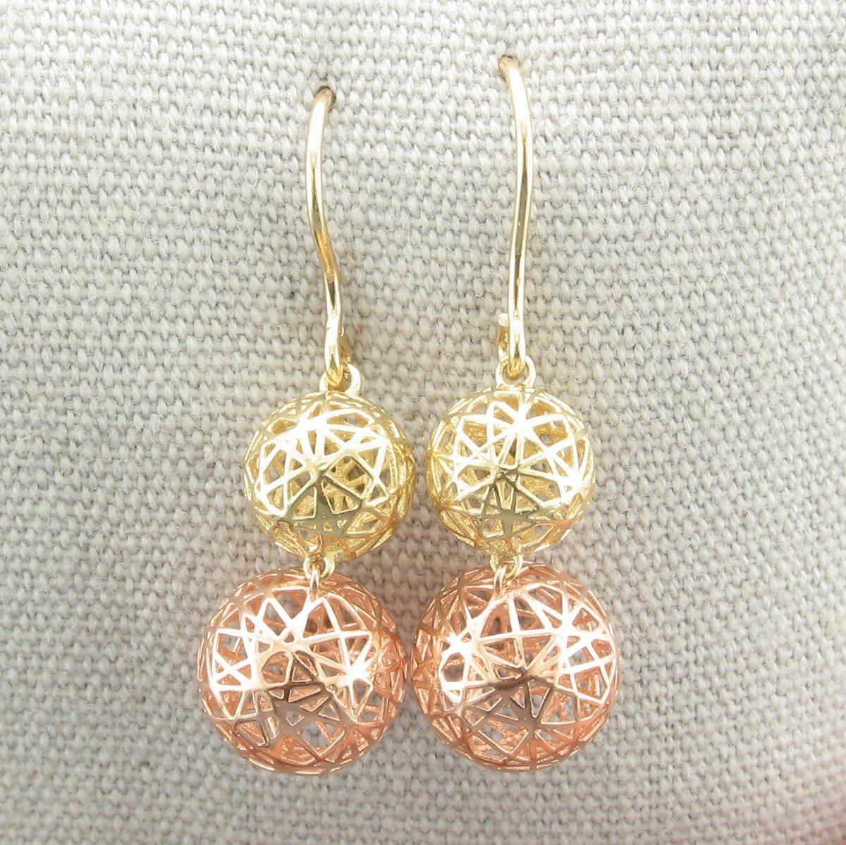 14K Yellow and Rose Gold 3-D Ball Dangle Earrings