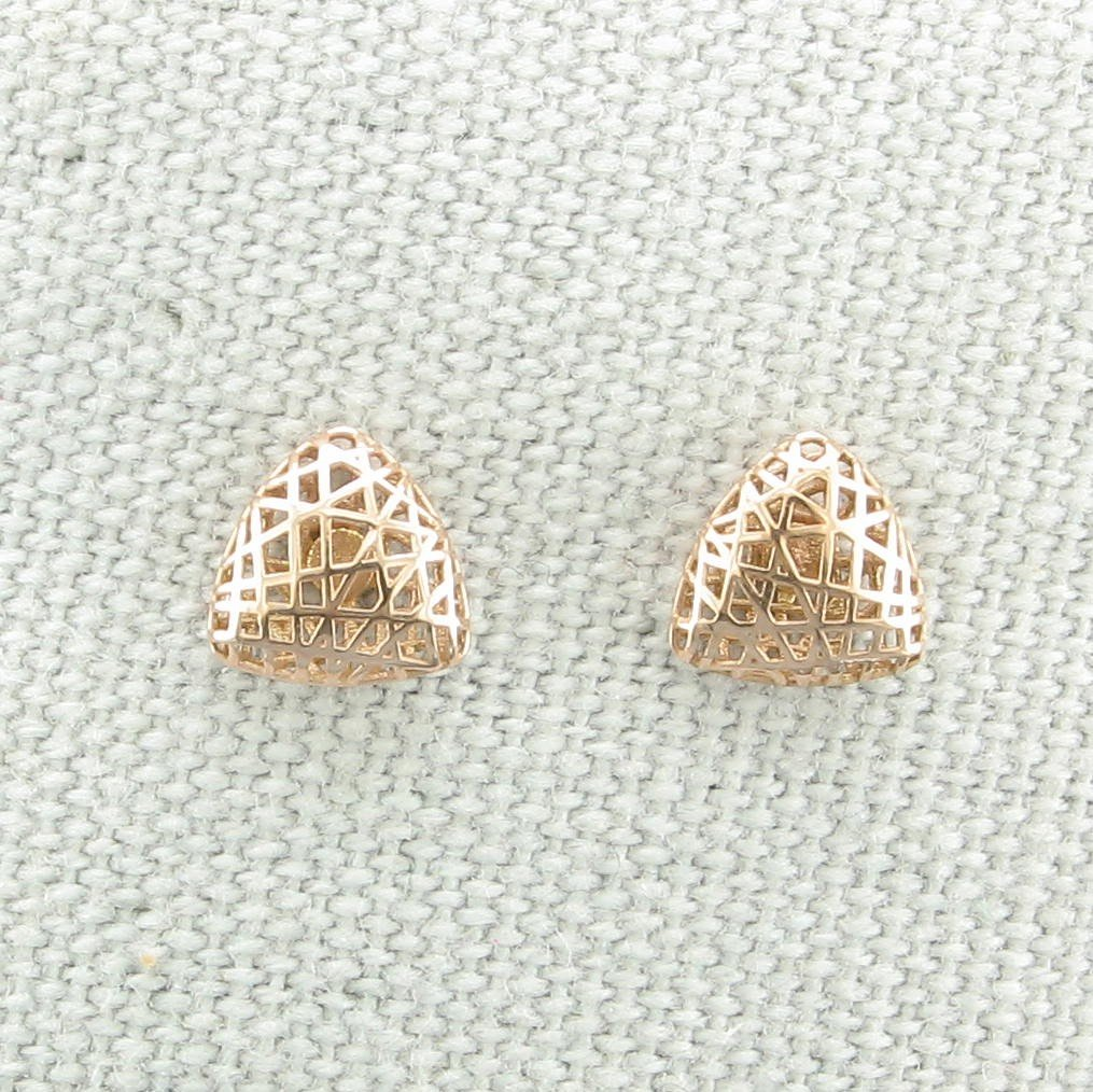 14K Gold 3-D Small Triangle Post Earrings