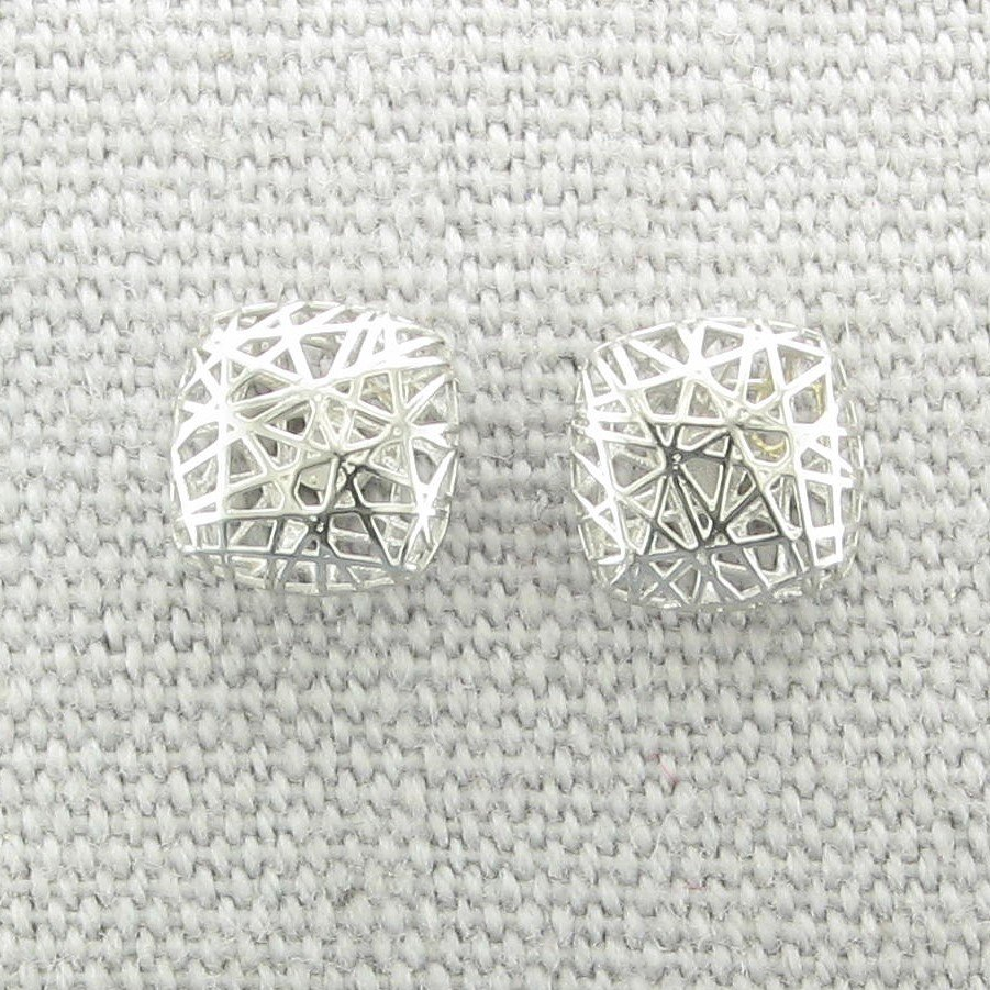 14K White Gold 3-D Small Square Post Earrings