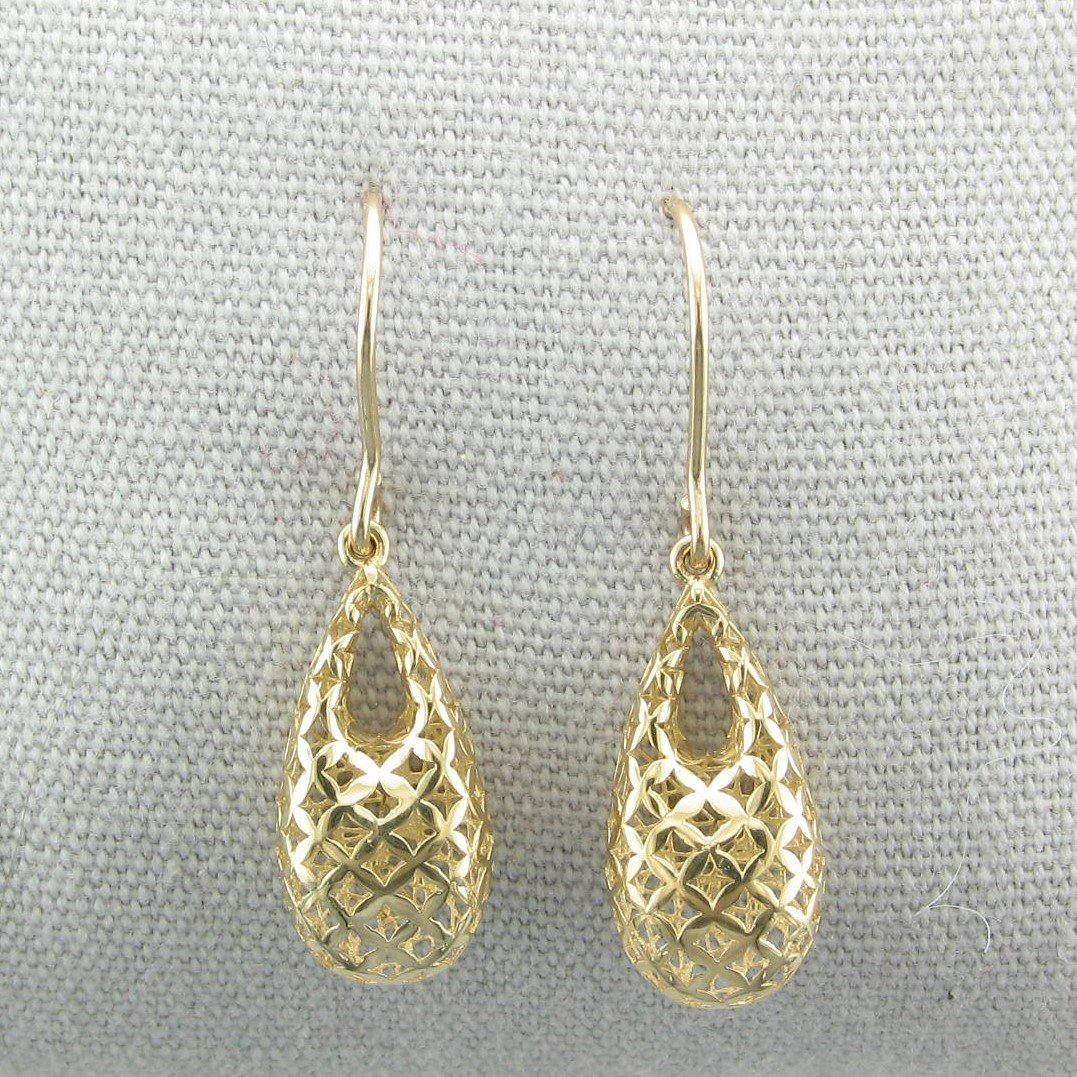 14K Yellow Gold 3-D Open Teardrop Earrings