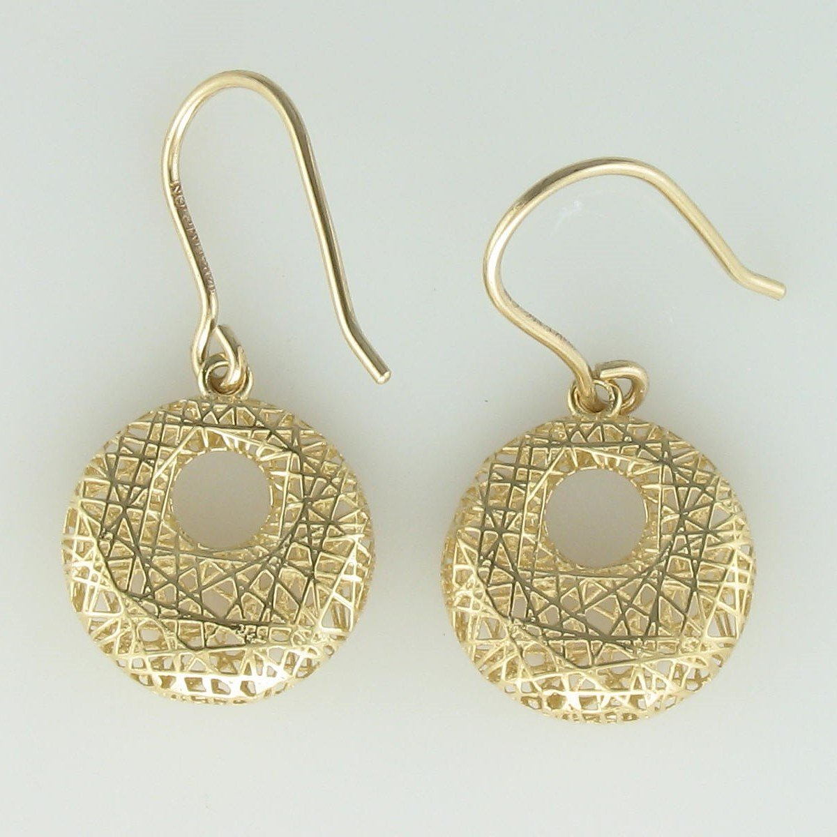3-D Open Circle Dangle Earrings in 14 Karat Yellow Gold