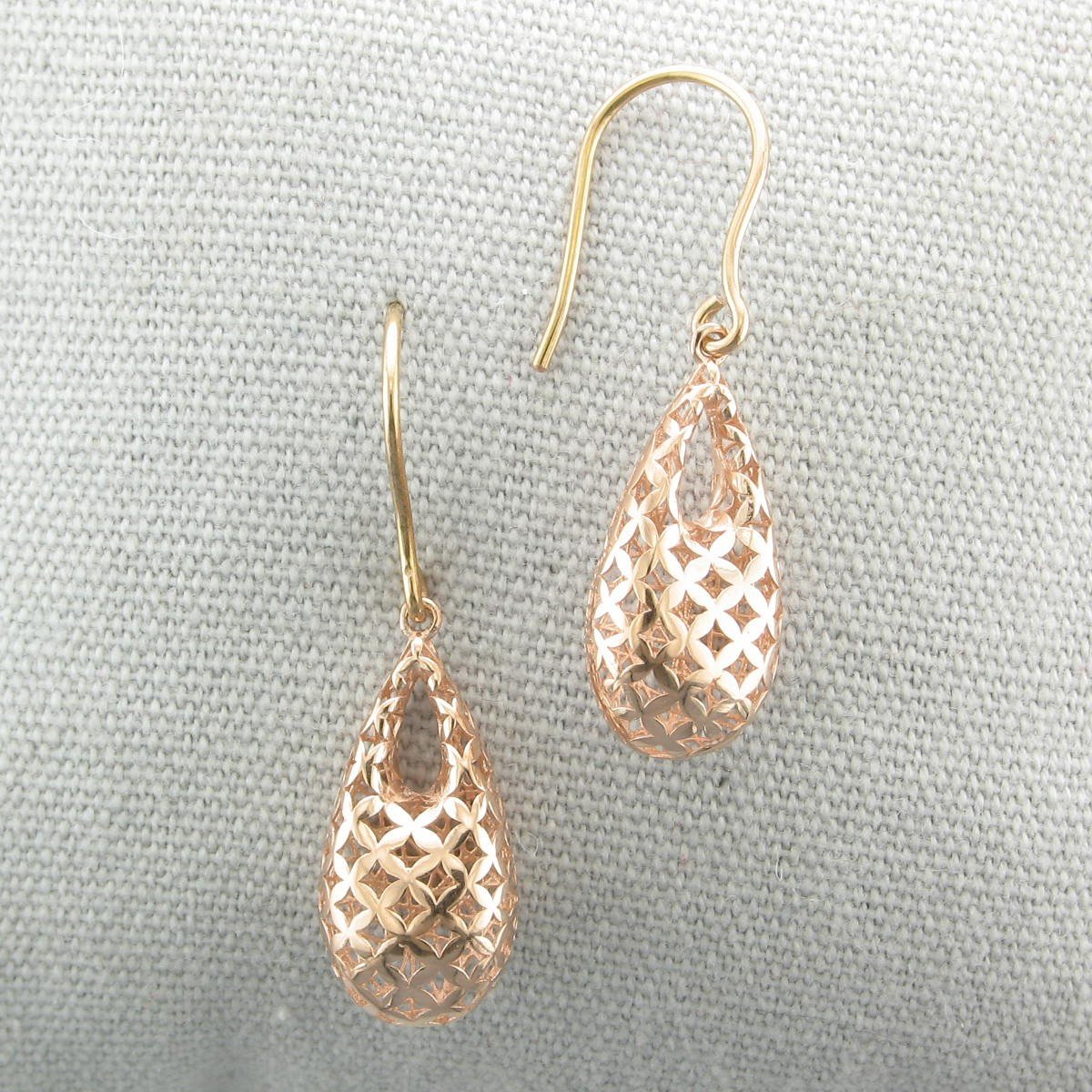 14K Rose Gold 3-D Open Teardrop Earrings