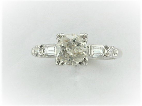Vintage 6.5 MM Round Diamond Ring Set in 14 Karat White Gold