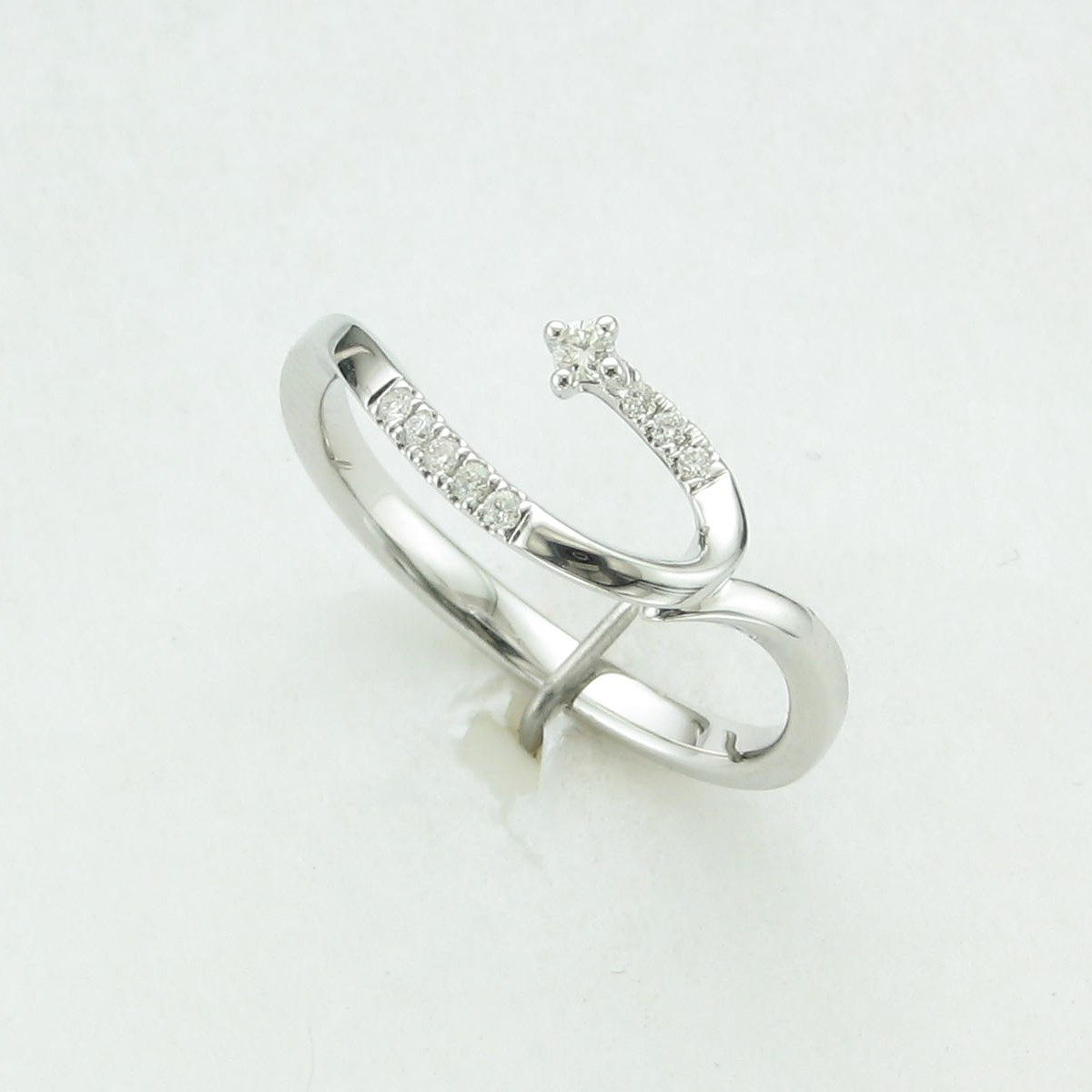 0.08tcw Diamond Shooting Star Ring  set in 14k White Gold