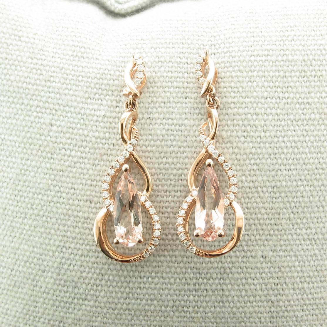 1.83tcw Morganite and Diamond Earrings set in 14k Rose Gold