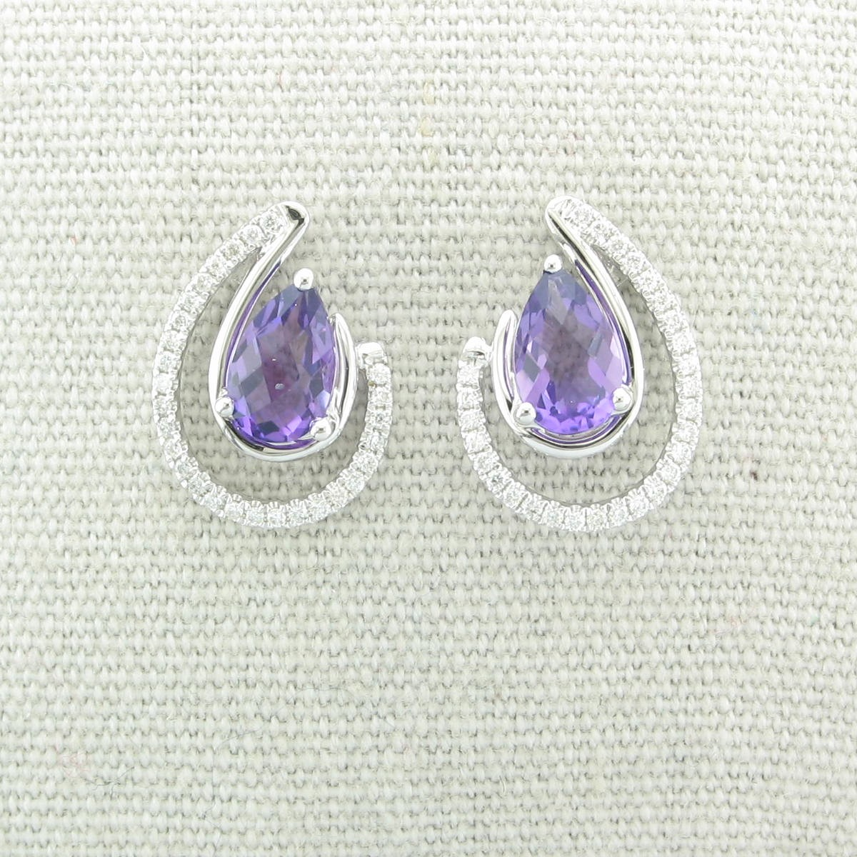 1.52tcw Amethyst and Diamond Earrings set in 14k White Gold