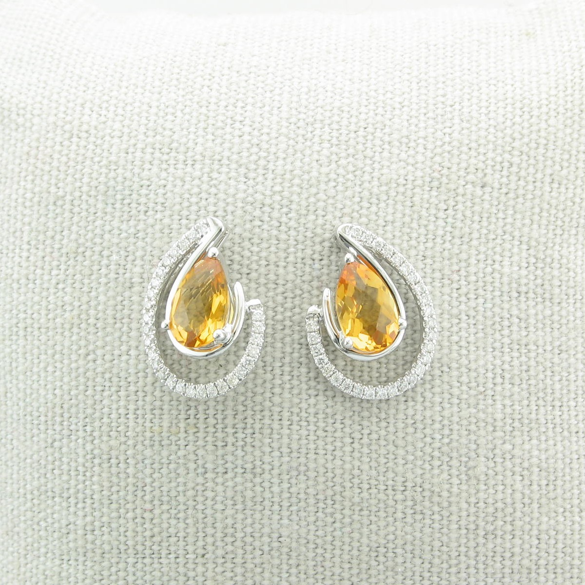 1.45tcw Citrine and Diamond Earrings set in 14k White Gold