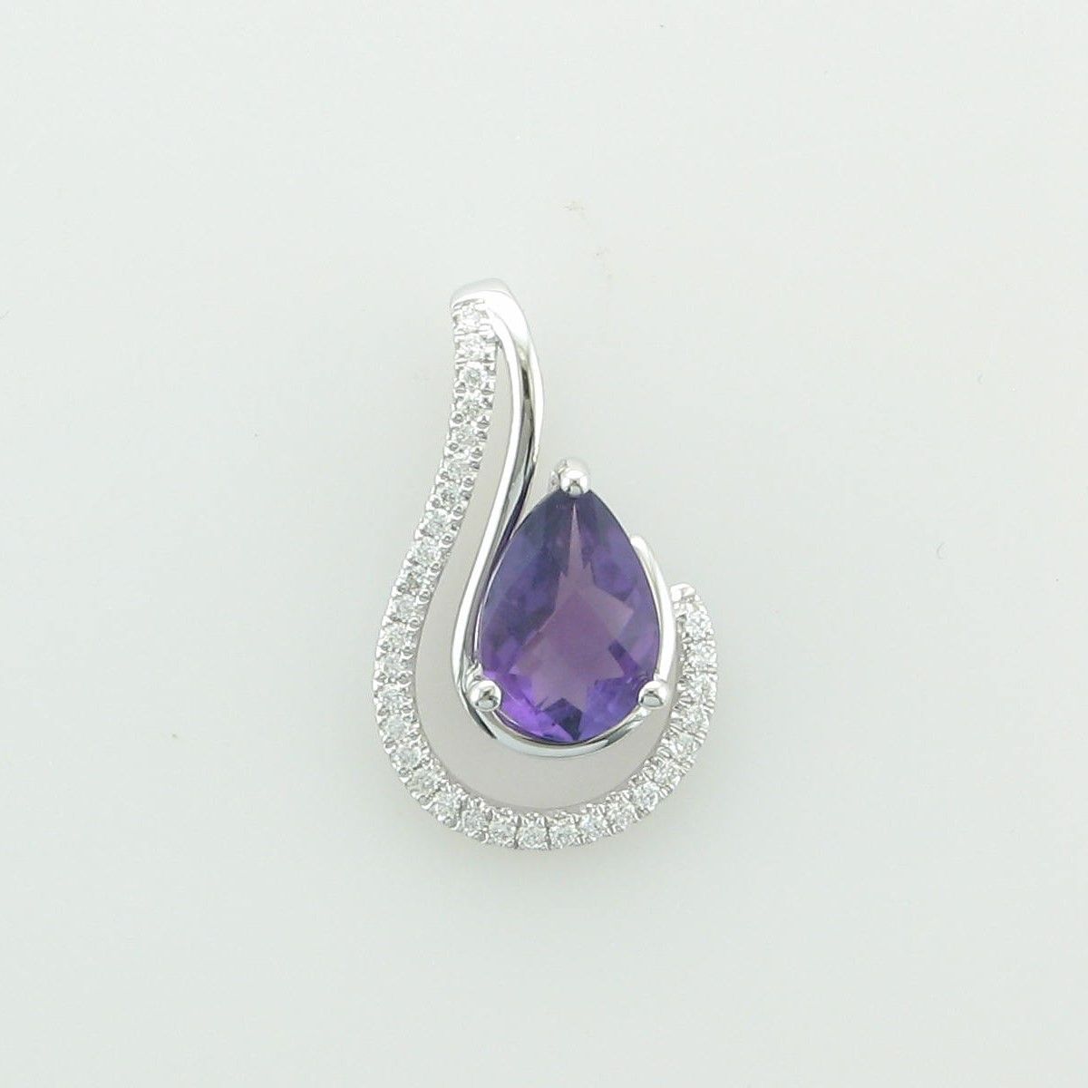 1.12ct Amethyst and Diamond Pendant set in 14k White Gold