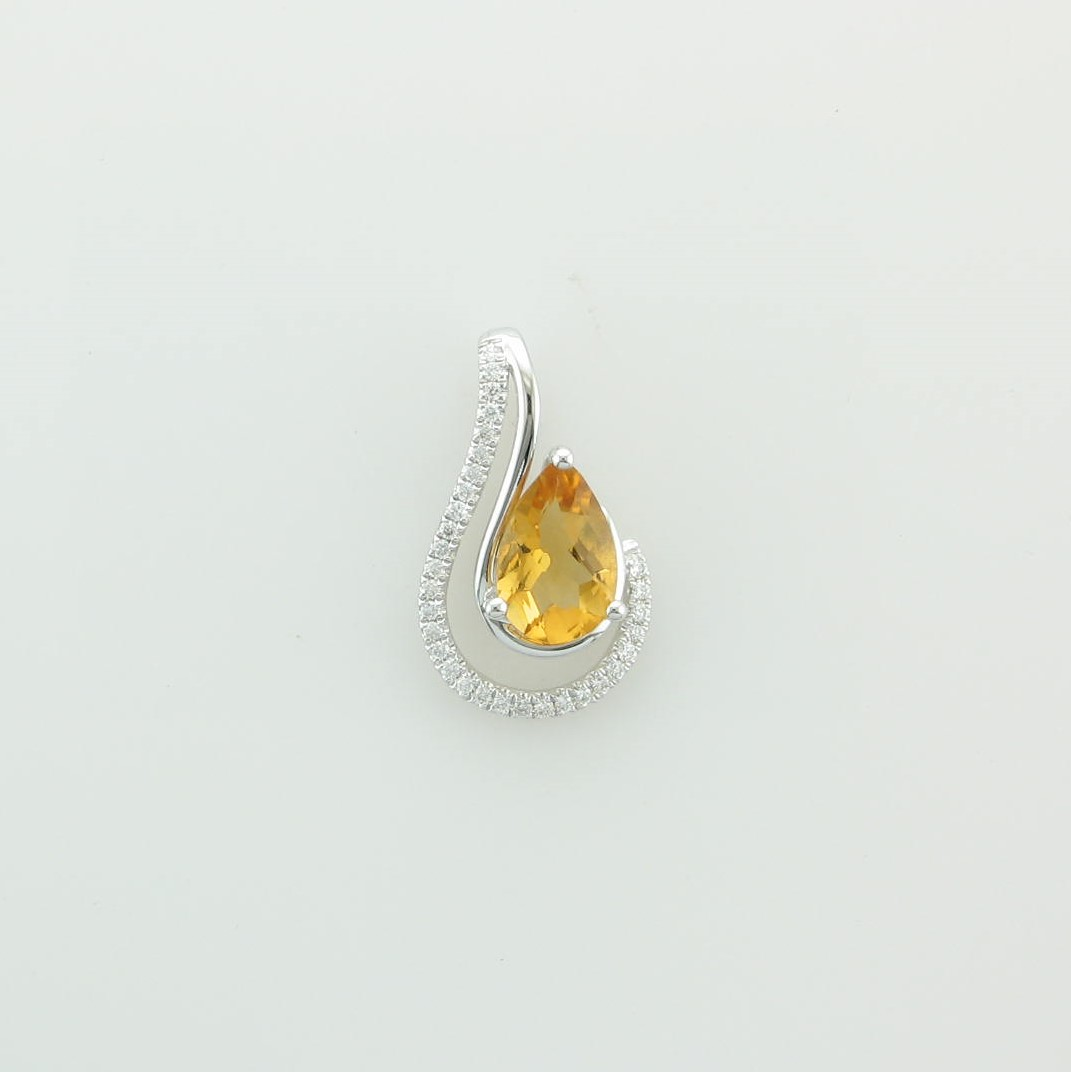1.06ct Citrine and Diamond Pendant set in 14k White Gold