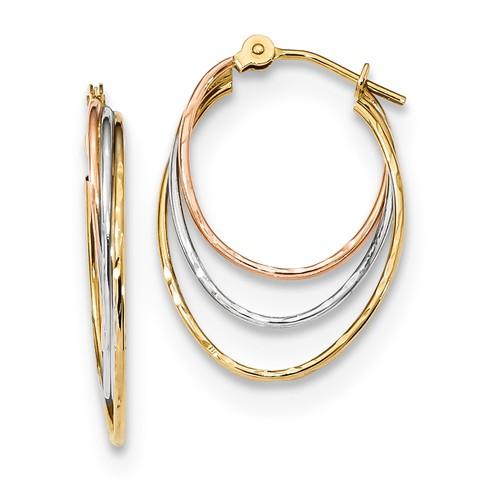 Diamond Cut Graduated 3 Ring Hoops Earrings in 14k Yellow, White & Rose Gold