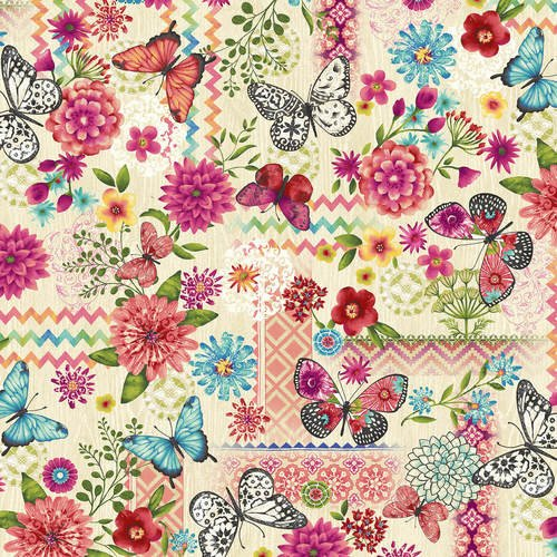 Cream Butterfly Dreams Patchwork