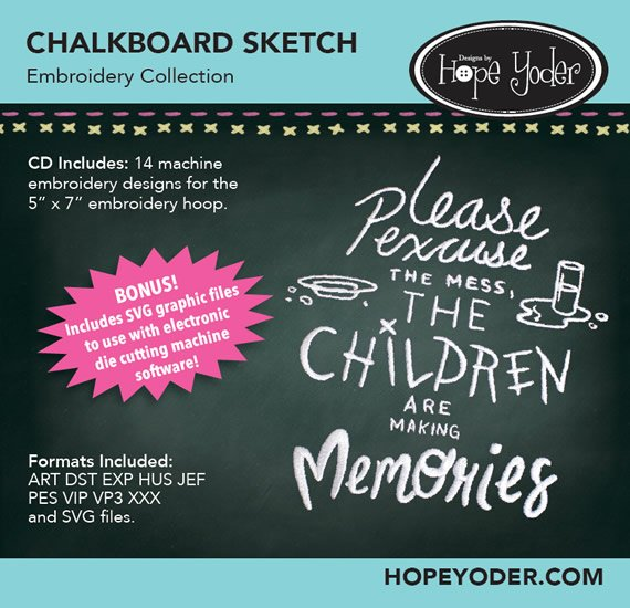 Chalkboard Sketch Embroidery Collection