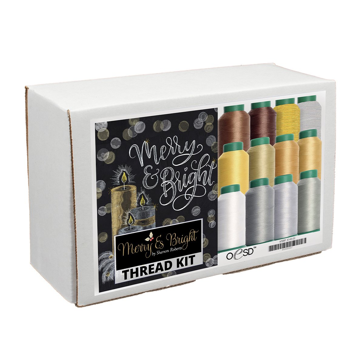 Merry & Bright White & Gold Thread Kit