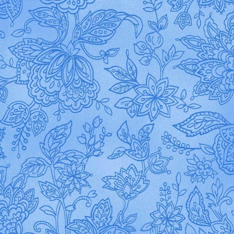 Jacobean Floral Outline - Blue