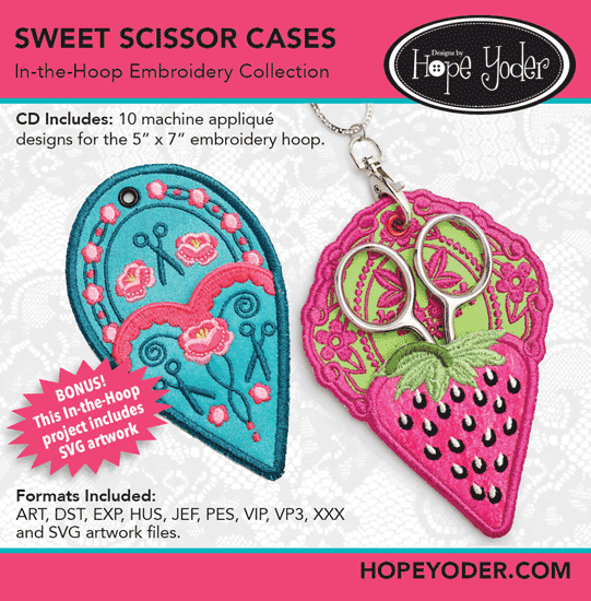 Sweet Scissor Cases In The Hoop Embroidery Collection