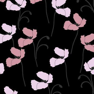 Jersey Knit 60 Organic Flowers Black