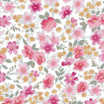 Jersey Knit 60 Flowers White