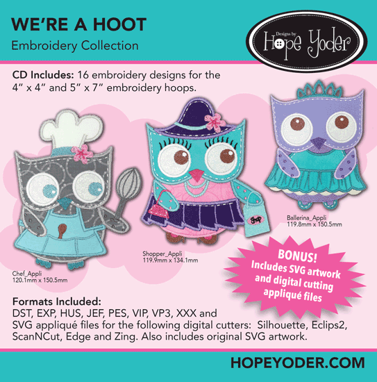 We're A Hoot Embroidery CD